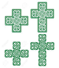 celtic cross set of traditional green designs from