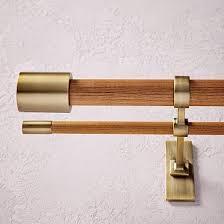 Adjustable Double Curtain Rod Brackets Mid Century Wooden Double Rod 28 U0026quot 48 U0026quot Wall Brackets
