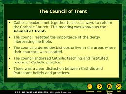Council Of Trent Reforms Chapter 12 The Reformation Of Christianity Ppt
