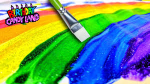 learn colors for kids and color glitter paint rainbow coloring