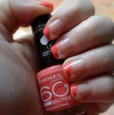 two color colour nail art coral rimmel london 415 instyle coral