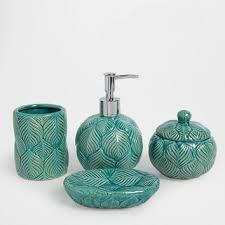 Sabun Zara blue ceramic bathroom set accessories from zara home