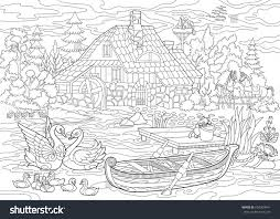 coloring book page rural landscape farm stock vector 658304941
