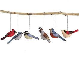 embroidered felt bird ornaments tree decorations