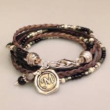 leather bracelet with silver charms images Leather bracelet beaded boho wrap braceletunisex leather jpg