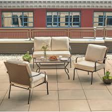 hampton bay pin oak 4 piece wicker outdoor patio conversation set
