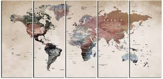 World Map Art Print by World Map Wall Art World Map Canvas World Map Print Large World