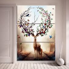 home decor wall posters 3 piece canvas art dream forest elk poster home decor canvas ash