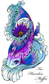 koi fish in blue waves tattoo design photos pictures and