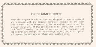 ti 99 4a vgh romox disclaimer note