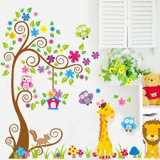 aliexpress com buy cartoon animal tree wallpaper for kids rooms