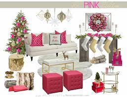 living room pink and purple christmas tree baubles decorations