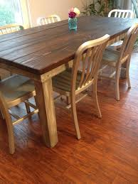 custom planked top farmhouse table with dark walnut stain and