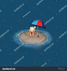 Small Beach Chair Santa Relaxing On Very Small Island Stock Illustration 15837244