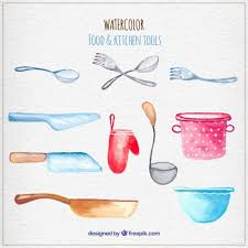 Kitchen Utensils And Tools by Watercolor Kitchen Tools Vector Premium Download
