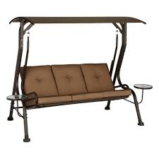 outdoor glider swing with table living accents porch swing steel brown 750 lb 47 3 in d x 68 2 in
