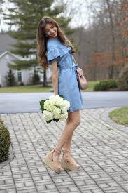 j crew edie chambray ruffle dress for spring