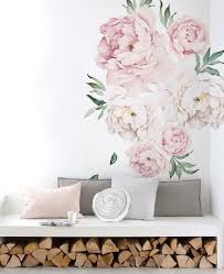 peony flowers wall sticker watercolor peony wall stickers peel vintage peony flowers wall sticker