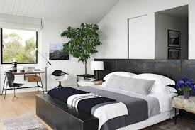 Black And White Bedroom Design High Wall Headboard Using Upholstery Fabric Panel Master Size Bed