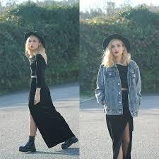 hat denim jacket jeans black dress two piece grunge jean