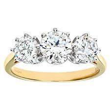 size 9 ring in uk citerna women s 9 ct yellow gold cubic zirconia three ring