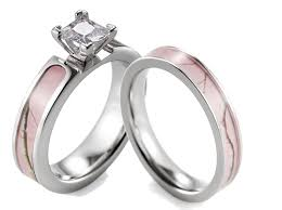 camo wedding rings sets shardon pink camo ring set women titanium 4 prong setting cz