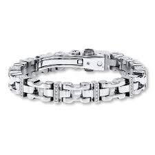 kay men u0027s diamond bracelet 1 4 ct tw round cut stainless steel