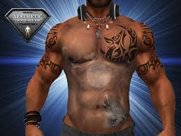 Tribal Torso - second marketplace tribal wolf torso with armband 2