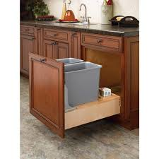 Kitchen Cabinet Trash Can Pull Out Rev A Shelf 17 875 In H X 15 In W X 24 5 In D Double 35 Qt