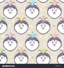 seamless pattern character cute funny husky stock vector 600417776