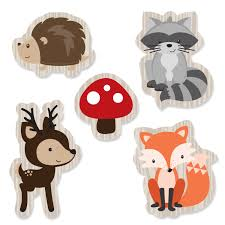 woodland shaped paper cut outs woodland creatures baby