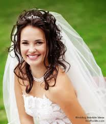 wedding hairstyles for long hair with tiara and veil 2017