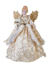 traditional angel tree topper 31cm gold red copper christmas tree