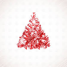 stylized red christmas tree on scratchy background vector image