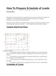 how to prepare schedule of loads force electrical engineering