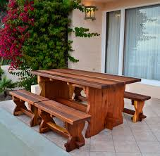 Outdoor Dining Set With Bench Natural Wood Outdoor Dining Table With Benches