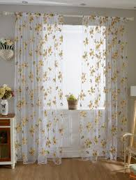 floral embroidery sheer fabric voile curtain yellow cm in window