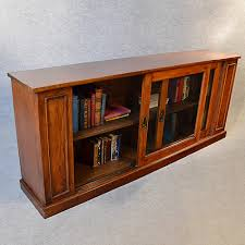 Long Low Bookcase Wood Antique Bookcase Walnut Library Cabinet Long Low Display English