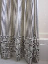 Blue Ticking Curtains Vintage Ticking Stripe Shower Curtain With Ruffles 4 Colors