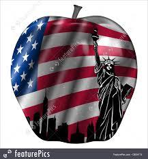 New Yorks Flag Illustration Of Usa Flag And New York Skyline Big Apple