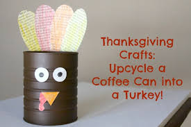 turkey can thanksgiving crafts upcycle a coffee can into a turkey