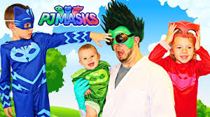 Real Life Halloween Costumes Pj Masks Irl Romeo Steals Gekko Catboy And Owlette Mask To Gain