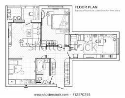 top view floor plan floor plan furniture top view architectural stock vector 712570255