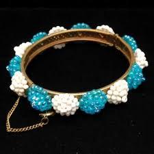 charm bead bangle bracelet images Miriam haskell vintage hinged bangle bracelet w white aqua JPG