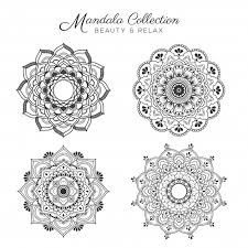 set of mandala decorative and ornamental design for coloring page