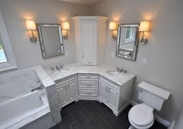 double sink vanity with middle tower custom master bathroom with double corner vanity tower cabinet