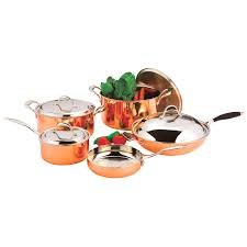 9pcs home cooking tri ply clad copper cookware set for all cooktops
