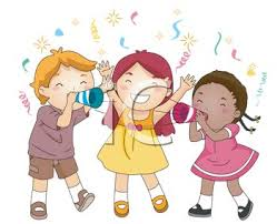 picture of three children celebrating at a in a vector clip