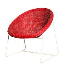 jacques adnet inspired red woven rattan and wire hoop chair for