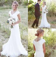 discount 2017 simple country wedding dresses a line v neck lace